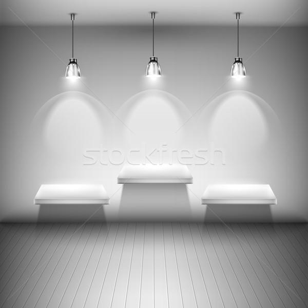 Fa megvilágított polcok szoba textúra fény Stock fotó © TarikVision