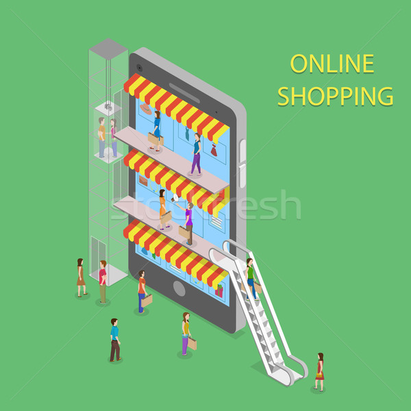 Stock photo: Online Shopping Isometric Concept Illustration.