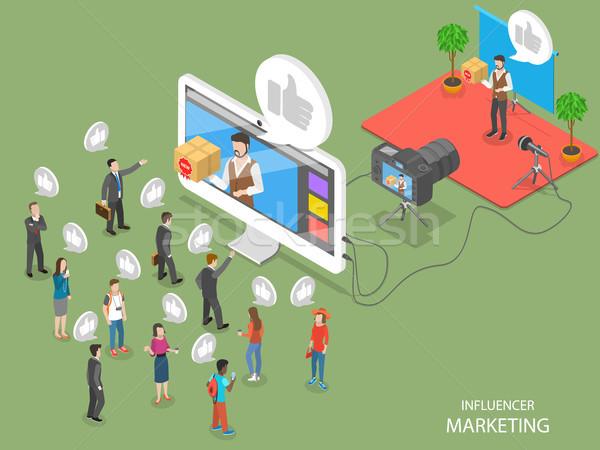 Influencer marketing flat isometric vector concept Stock photo © TarikVision