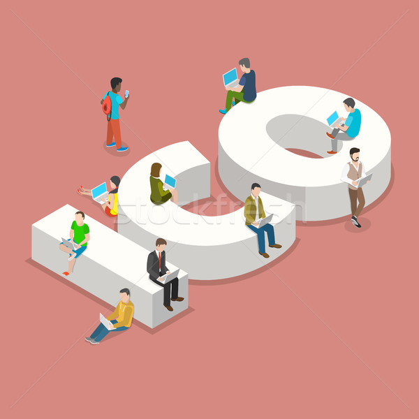 Initial coin offering flat isometric vector. Stock photo © TarikVision