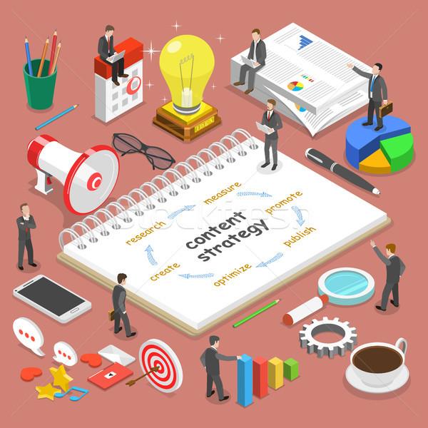 Zawartość strategii izometryczny wektora biznesmenów Zdjęcia stock © TarikVision