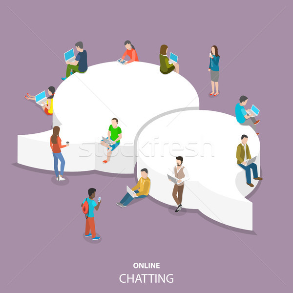 Online chatting flat isometric vector concept. Stock photo © TarikVision