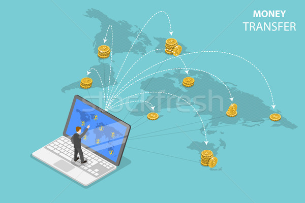Stock photo: Sending money around the world isometric flat vector.