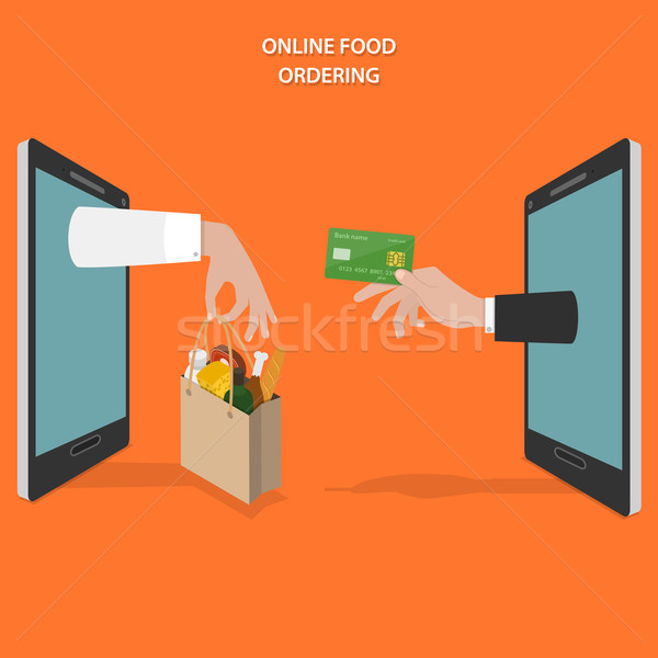 Online food ordering flat vector concept. Stock photo © TarikVision