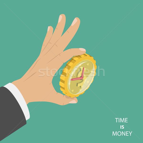 Tijd is geld isometrische vector groot hand Stockfoto © TarikVision