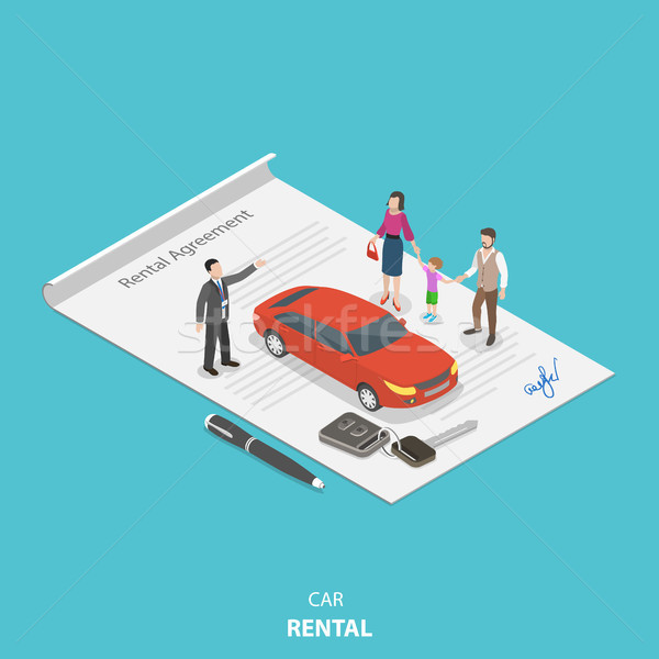 Vehicle rental flat isometric vector concept. Stock photo © TarikVision