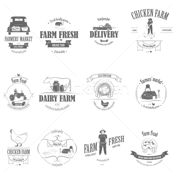 Ferme fraîches produits badge Photo stock © TarikVision