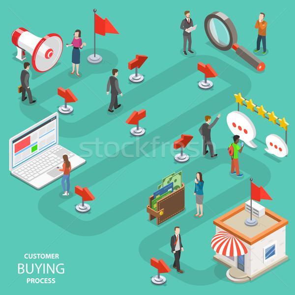 Foto stock: Cliente · compra · processo · isométrica · vetor · pessoas