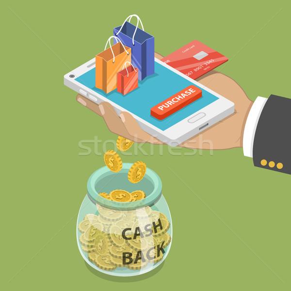 Cash Maakt een reservekopie isometrische vector loyaliteit programma Stockfoto © TarikVision