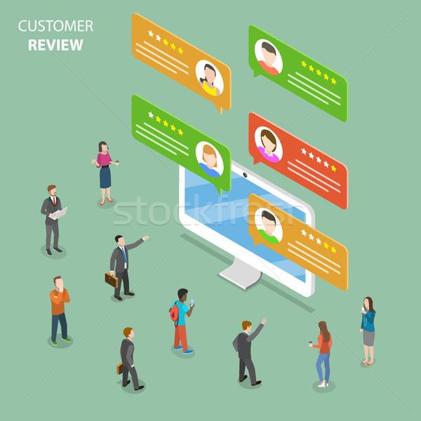 Customer review flat isometric vector concept. Stock photo © TarikVision
