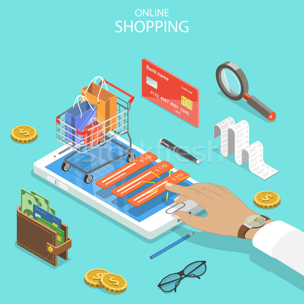 Stock photo: Online shopping flat isometric vector concept.