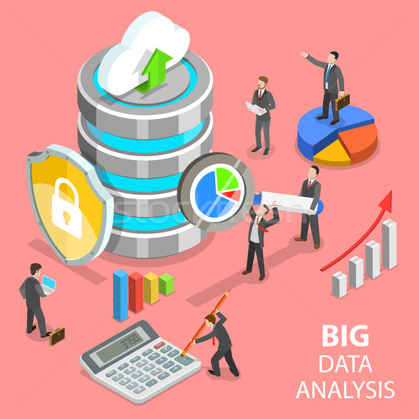 Big data analysis flat isometric vector concept. Stock photo © TarikVision