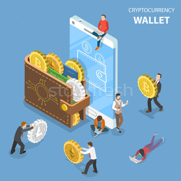 Cryptocurrency wallet flat isometric vector. Stock photo © TarikVision