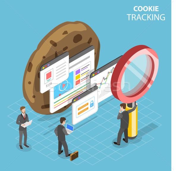 Web cookie isometrische vector computer mobiele Stockfoto © TarikVision