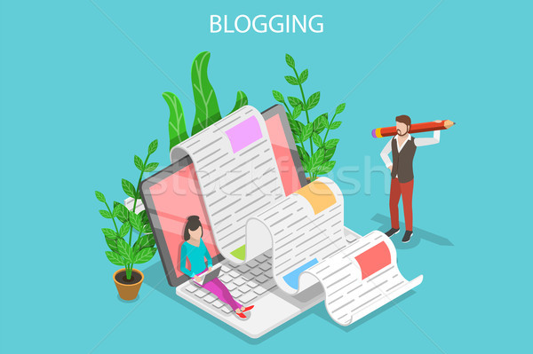 Creative Blogging Isometric Flat Vector Conceptual Illustration