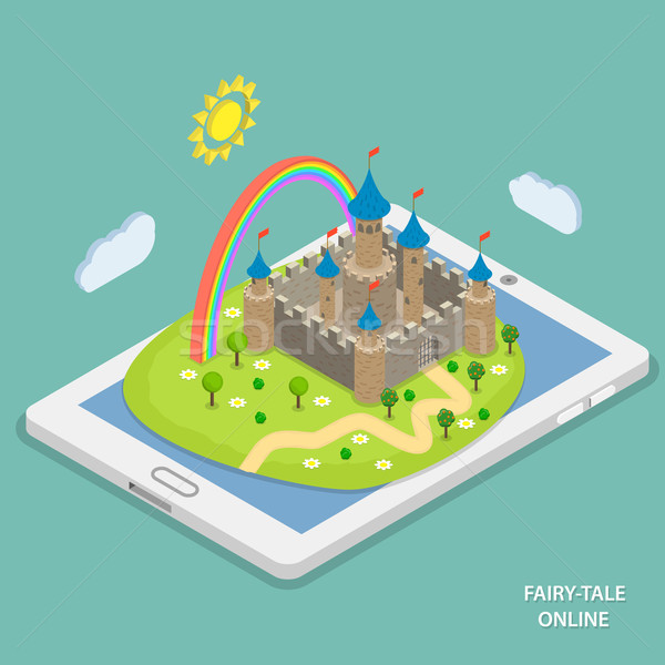 Online fairy tale reading isometric vector.  Stock photo © TarikVision