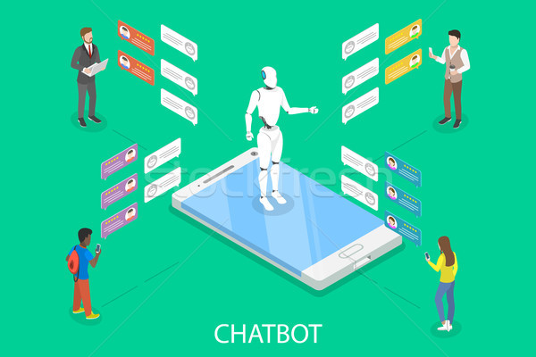 Chatbot flat isometric vector concept. Stock photo © TarikVision