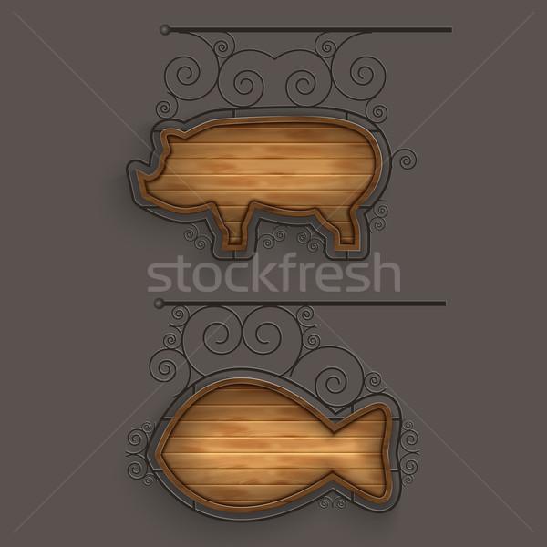 ストックフォト: セット · 木製 · 食品 · 木材 · 魚