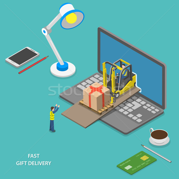 Fast gift delivery isometric vector illustration.  Stock photo © TarikVision