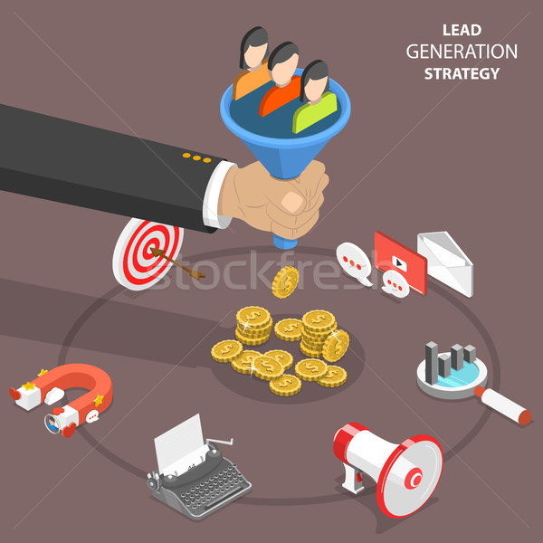 Lead generation strategy flat isometric vector. Stock photo © TarikVision