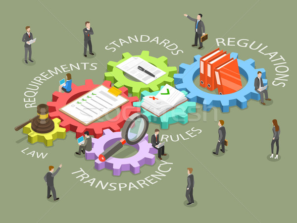 Conformité isométrique vecteur gens d'affaires étapes Photo stock © TarikVision