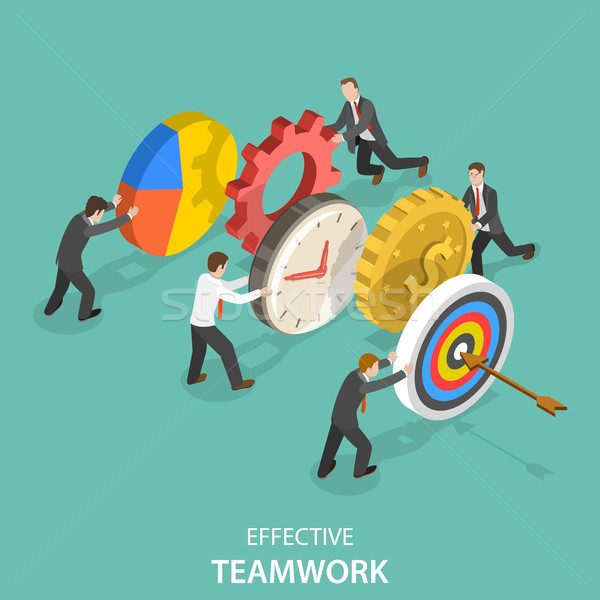 Effective teamwork flat isometric vector concept. Stock photo © TarikVision