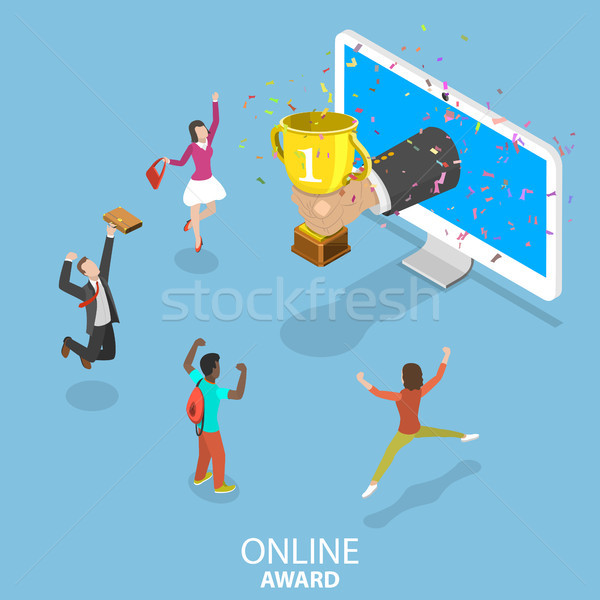 Online award flat isometric vector concept. Stock photo © TarikVision
