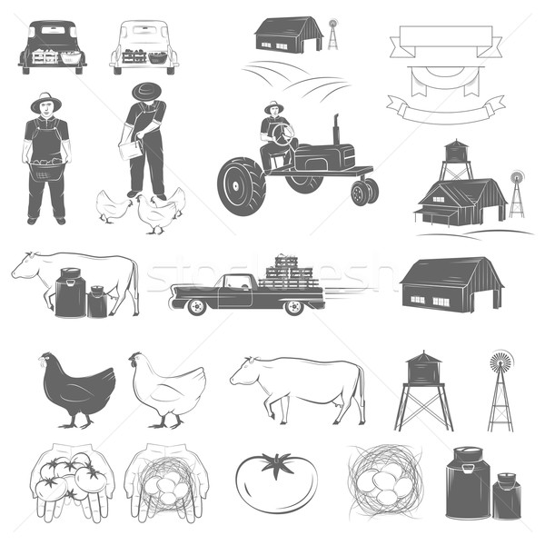 Farming Two-color Icon Set Vector Illustration. Stock photo © TarikVision