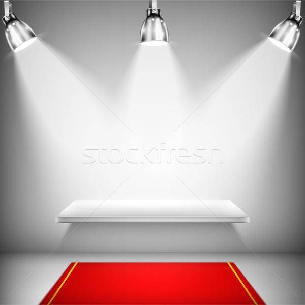 Megvilágított polc vörös szőnyeg bolt piac siker Stock fotó © TarikVision