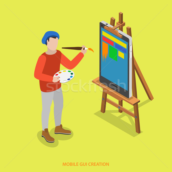 Mobile GUI creation flat isometric vector concept. Stock photo © TarikVision