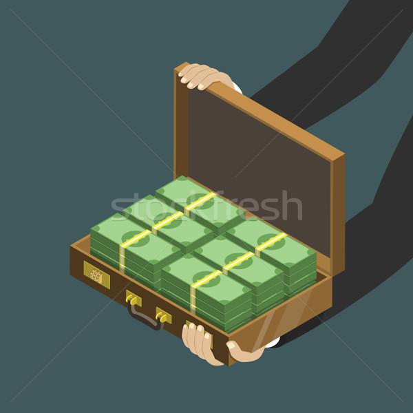 Geld koffer isometrische laag vector handen Stockfoto © TarikVision