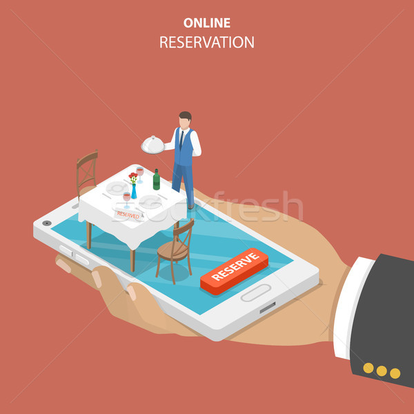 Restaurant online booking flat isometric vector concept. Stock photo © TarikVision
