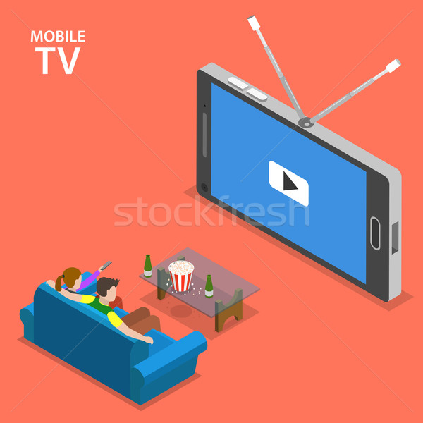Stock fotó: Mobil · tv · izometrikus · fiú · lány · ül