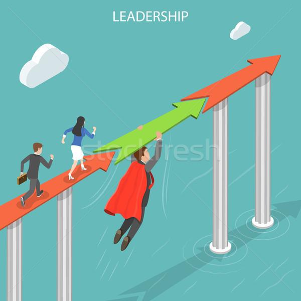 Stockfoto: Leiderschap · isometrische · vector · zakenlieden · kijken
