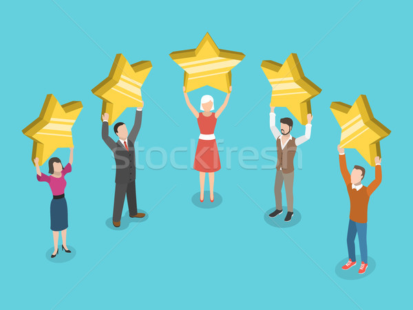 Five stars rating flat isometric vector concept. Stock photo © TarikVision