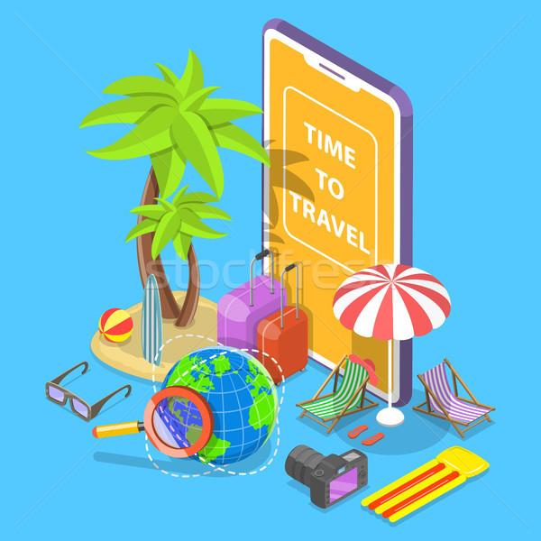Online tour zoeken isometrische vector zomervakantie Stockfoto © TarikVision