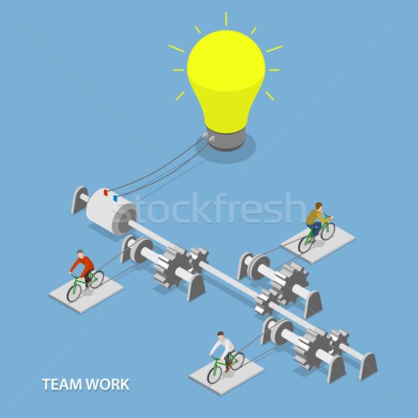Team work flat isometric vector concept.  Stock photo © TarikVision