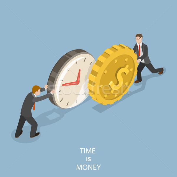 Tijd is geld isometrische vector twee zakenlieden voortvarend Stockfoto © TarikVision