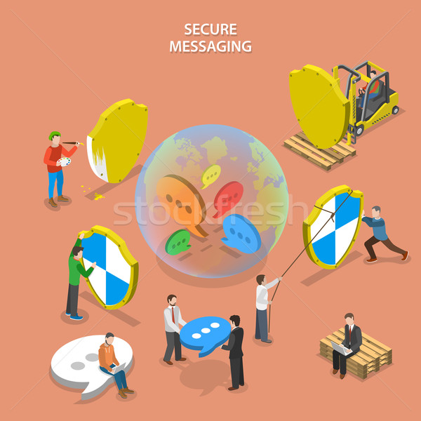 Secure messaging isometric flat vector concept. Stock photo © TarikVision