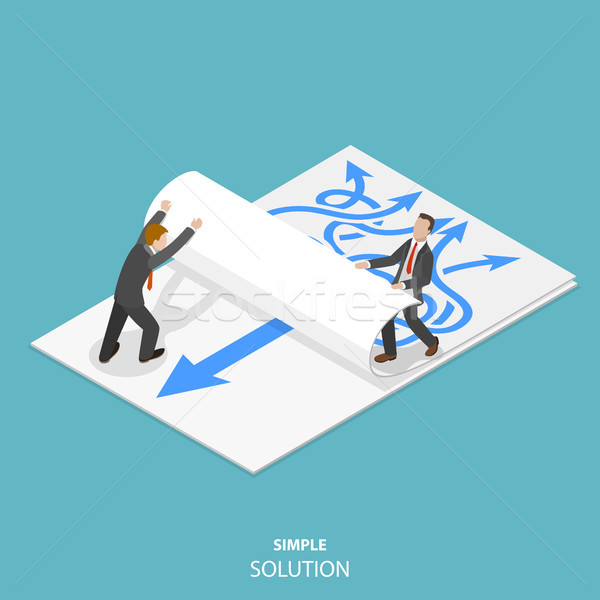 Simple solution flat isometric vector concept. Stock photo © TarikVision