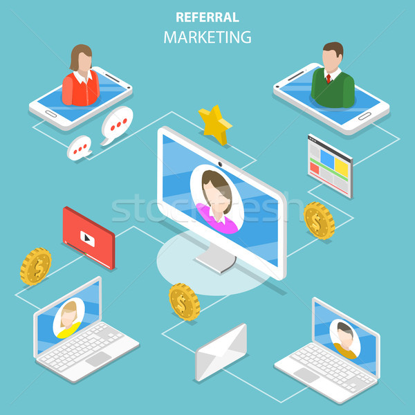 Referral marketing flat isometric vector concept. Stock photo © TarikVision