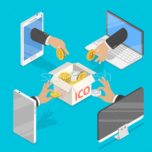 Isometrische vector munt aanbieden digitale geld Stockfoto © TarikVision