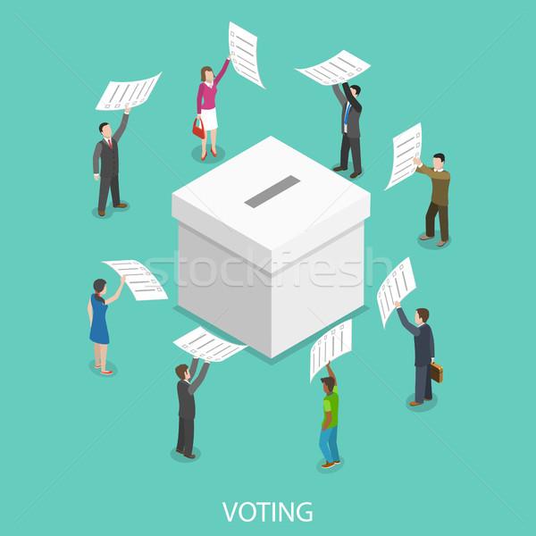Isometrische vector mensen stemmen papieren Stockfoto © TarikVision