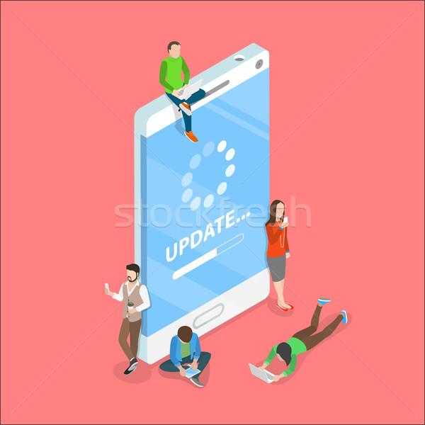 スマートフォン アプリ アップデート アイソメトリック ベクトル プロセス ストックフォト © TarikVision