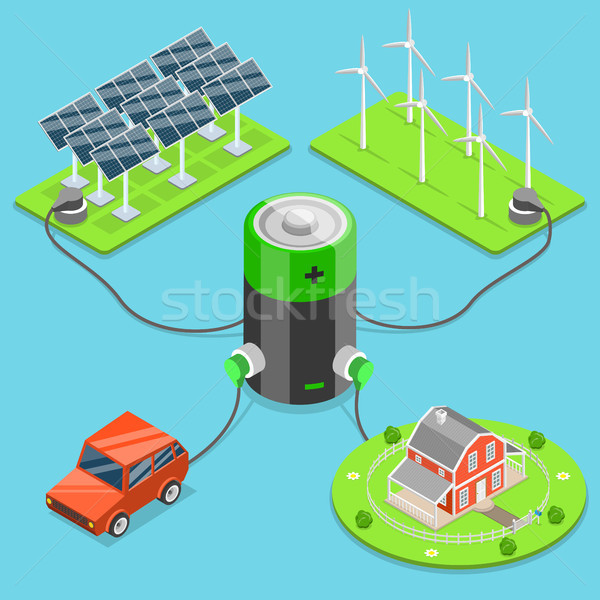 Alternatief groene energie isometrische vector auto huis Stockfoto © TarikVision