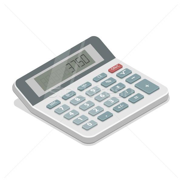 Grijs isometrische calculator realistisch 3D business Stockfoto © TarikVision