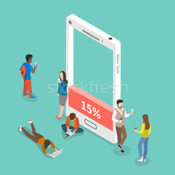 Battery low flat isometric vector concept. Stock photo © TarikVision