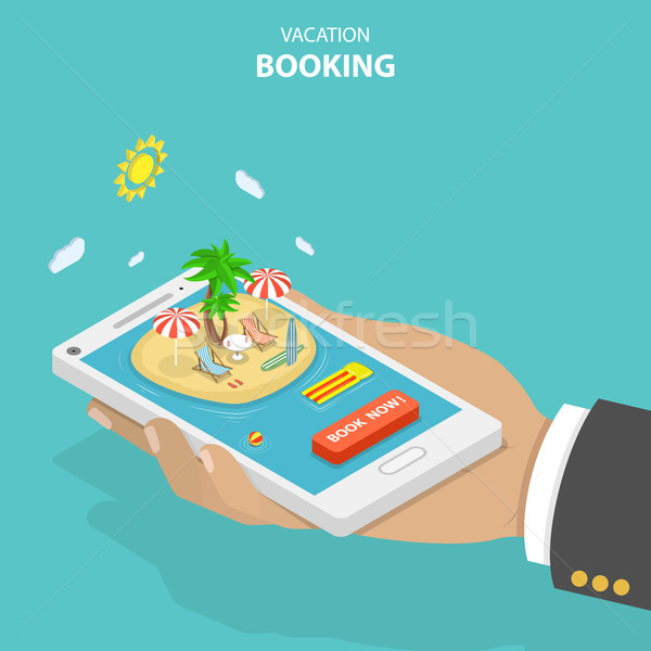 Vacation booking flat isometric low poly vector concept Stock photo © TarikVision