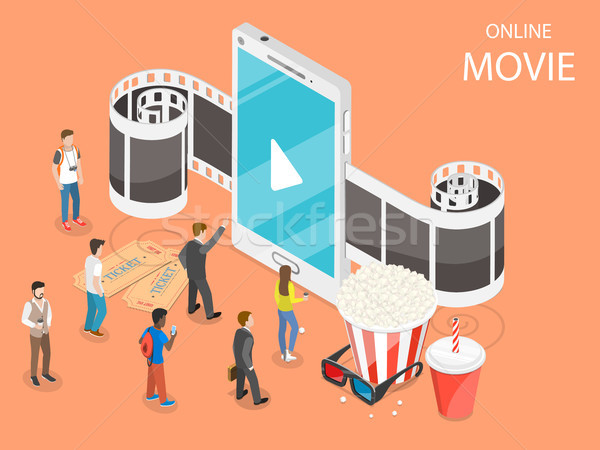 Online movie flat isometric vector concept. Stock photo © TarikVision