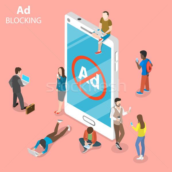 Advertentie isometrische vector mensen smartphone teken Stockfoto © TarikVision